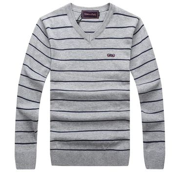 EDEN PARK MEN'S SWEATERS PULLOVER COLLECTION SPRING WINTER COLLECTION BRAND CLOTHING LEISURE STRIPED DESIGN COTTON FABRIC 256