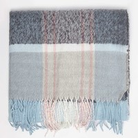 Icy Blue Tartan Checked Scarf - New In Accessories - New In