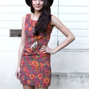 Adorable 90s Psychedelic Floral Mini Shift Dress - Mod Abstract Red Orange Pink X Small Short Sexy