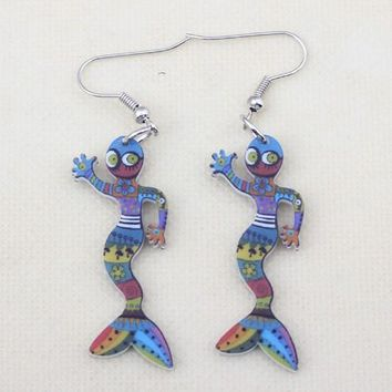 1 pair gecko cute lovely printing drop earrings acrylic new design spring/summer style for girls woman jewelry
