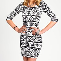 Print Scoopback Bodycon Dress