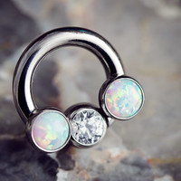 PRE-ORDER Titanium septum ring with gemmed bead and bezel set threaded ends