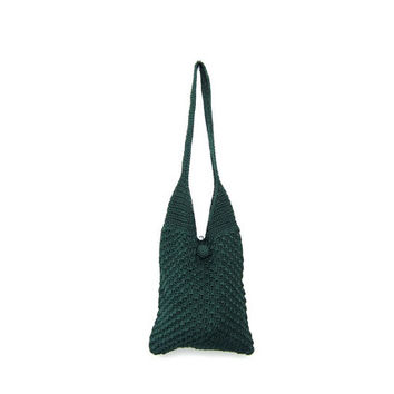 Vintage woven bag. deep green shoulder bag purse. boho bag. crochet knit handbag. hobo knit tote.