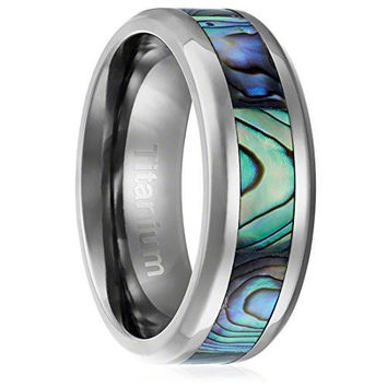 8MM Comfort Fit Titanium Wedding Band Engagement Ring with Abalone Shell Inlay Beveled Edges | FREE ENGRAVING