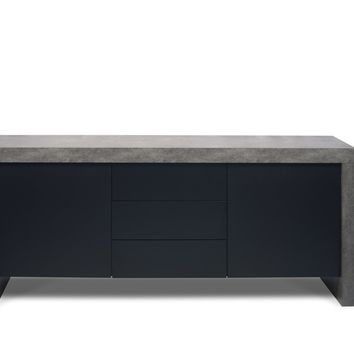 kobe 2 doors 3 drawers sideboard faux concrete pure black  number 1