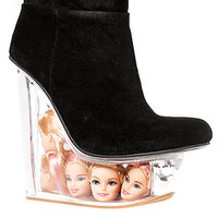 Jeffrey Campbell Shoe Icy in Black Suede and Doll Heads