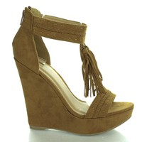 Madison115 Chestnut By Wild Diva, Tassel T Strap Platform High Wedge Heels