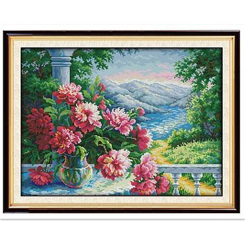 Vase With Distant Mountains Chinese Counted Cross Stitch Pattern DMC Cross Stitch Fabric 11CT 14CT Printed On Canvas Needlework