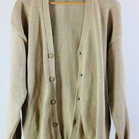 SALE - Vintage 90s Light Brown Cardigan Sweater - Mens Size XL