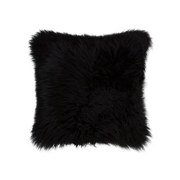 "18"" x 18"" New Zealand Black Sheepskin Pillow"