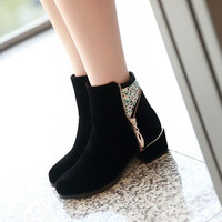 Fashion Ladies Rhinestone Ankle Boots High Heels Black Women Shoes Winter Autumn Boots Platform Pumps 2014 (US Size) = 1946975556