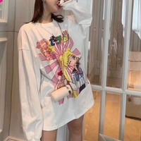 Women Casual All-match Fashion Letter Logo Cartoon Character Sailor Moon Long Sleeve Sweater Tops