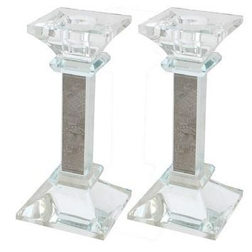 Crystal Candlesticks 15 cm with Laser Cut Metal Plaque