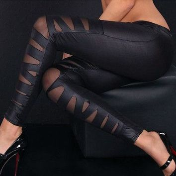 Women Athletic Sports Yoga Gym Mesh Sexy Fitness Workout Pants Leggings Clothing Clothes (FREE SHIPPING TO USA)