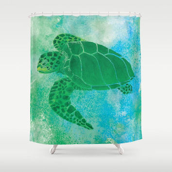 Sea Turtle Shower Curtain - Kemp's Ridley - Watercolor Art, blue green Sea Turtle, Surf, beach, colorful sea turtle, coastal bathroom