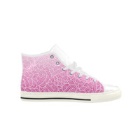 Ombre pink and white swirls zentangle Aquila High Top Action Leather Women's Shoes (Model 027) | ID: D409993