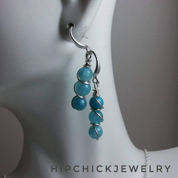 Pastel blue Angelite & silver wire wrapped earrings, bridesmaids jewelry