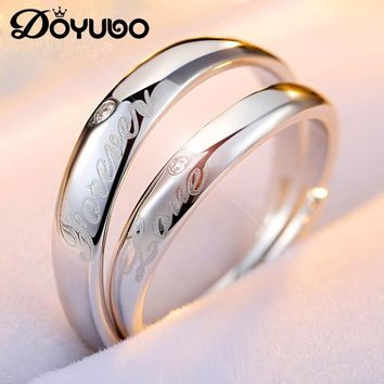 DOYUBO Romanti 925 Sterling Silver Lovers Rings Engraving Love you Forever Adjustable Size Luxury Silver Couples Rings VB227