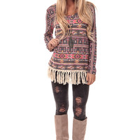 Blush Tribal Tunic with Crochet Fringe Detail