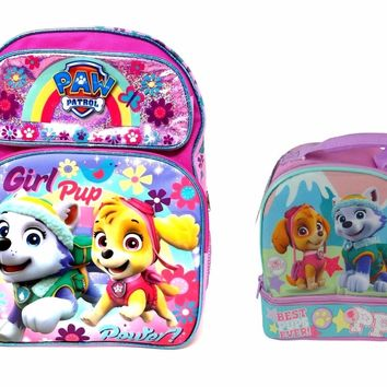 "Girls Paw Patrol 16"" Backpack Plus Matching Lunch Bag Set"