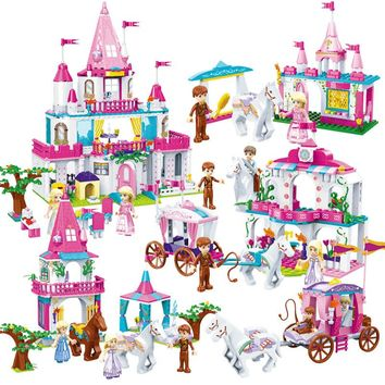Bainily City Girls Alice Princess Castle Carriage Building Blocks Sets Bricks Model Kids Classic Toys Compatible Legoing Friends