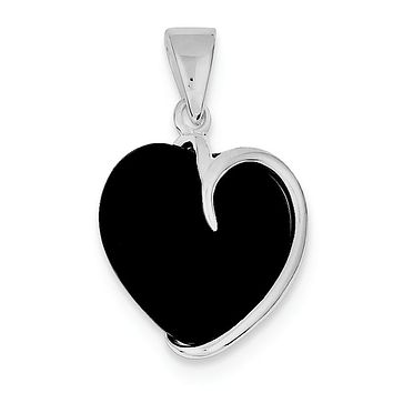 Sterling Silver Black Onyx Heart Pendant