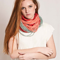 Collar necklace felted pure wool neckpiece scarf, Red, Soft coral, Mint, Yellow and Blue jean /// Ready to ship ///
