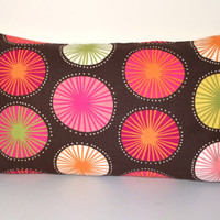 "Handmade Pillow Cover - Bright and Bold! Brown, Pink, Orange, Yellow - READY TO SHIP - 12"" X 20"""