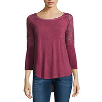 Arizona 3/4 Lace Sleeve Tee - JCPenney