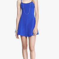 BLUE STRETCH COTTON SKATER ROMPER from EXPRESS