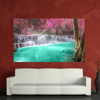 Blue river red maple Digital Canvas print Home Decoration, nature photo to your wall