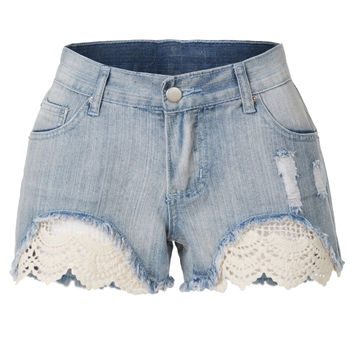 LE3NO Womens Summer Frayed Hem Distressed Denim Jean Shorts