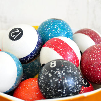 Vintage Brunswick Speckled Agate Billiard Pool Balls, Parlor Sized, Early 20th Century, Full Set with Cue Ball