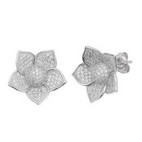 .925 Rhodium Plated Sterling Silver 15.5mm(H)x18.05mm(W) Micro Pave CZ Blooming Flower Design Fashion Push-Back Earrings