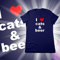 Cat T Shirt, Geek, I Love Cats & Beer, I Heart Cats Tshirt, Funny T Shirt, Geek Tee, Christmas Gift Wife Girlfriend, Ladies Women Plus Size