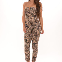 Cheetah Print Bow Jumpsuit