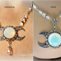 Opalite Necklace Crescent Moon Triple Goddess 2 Styles