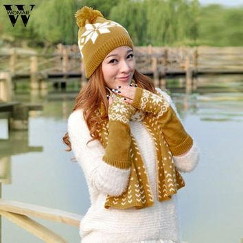 woman winter hat and gloves set women Knitted hat scarf gloves set Beanie Long Fingerless Glove Scarf Sets for Women