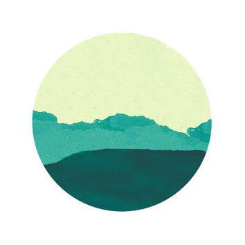 Teal Mountain Print / Abstract Circle Print / Paper Landscape Print / Teal Green Circle Print / Up to 13x19 / Circle Wall Art