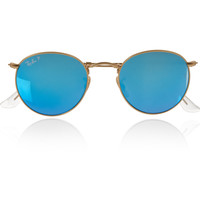 Ray-Ban - Round-frame gold-tone polarized mirrored sunglasses
