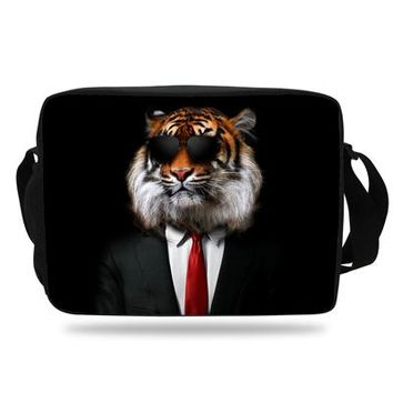 Boys bookbag trendy 2018 Hot Sale Girl Animals Shoulder Bag For Children  White Tiger Messenger Bag For Men School Bags Boys AT_51_3