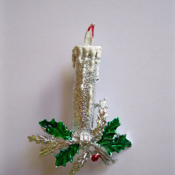Vintage Kitsch Christmas Pin Silver Holiday Candle Gerrys Brooch
