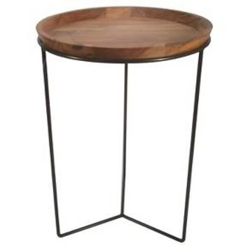 Round Wood Plant Stand with Black Base - Threshold™
