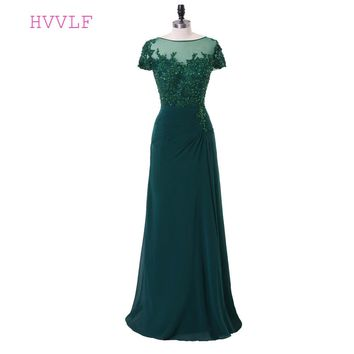 Green 2017 Prom Dresses A-line Cap Sleeves Chiffon Crystals Slit Sexy Women Long Prom Gown Evening Dresses Robe De Soiree