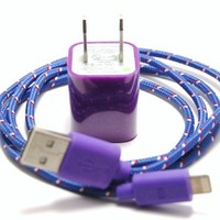 Purple 3ft 8 pin to USB Braided High Quality Durable Charging / Data Sync Cable + USB AC Wall Adapter fits iPhone 5