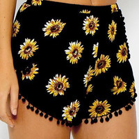 Black Sunflower Print Pom Poms Shorts