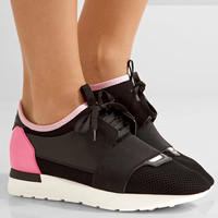 Balenciaga - Race Runner leather, mesh and neoprene sneakers