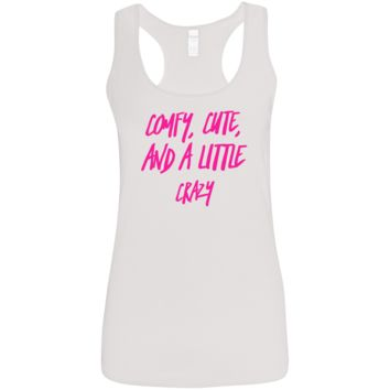 Cute Crazy Hot Pink Font Ladies' Softstyle Racerback Tank