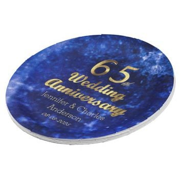 65th Sapphire Wedding Anniversary Gold Typography Paper Plate
