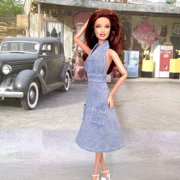 Barbie Doll Dress - Backless, Halter, Light Denim Doll Dress and Shoes